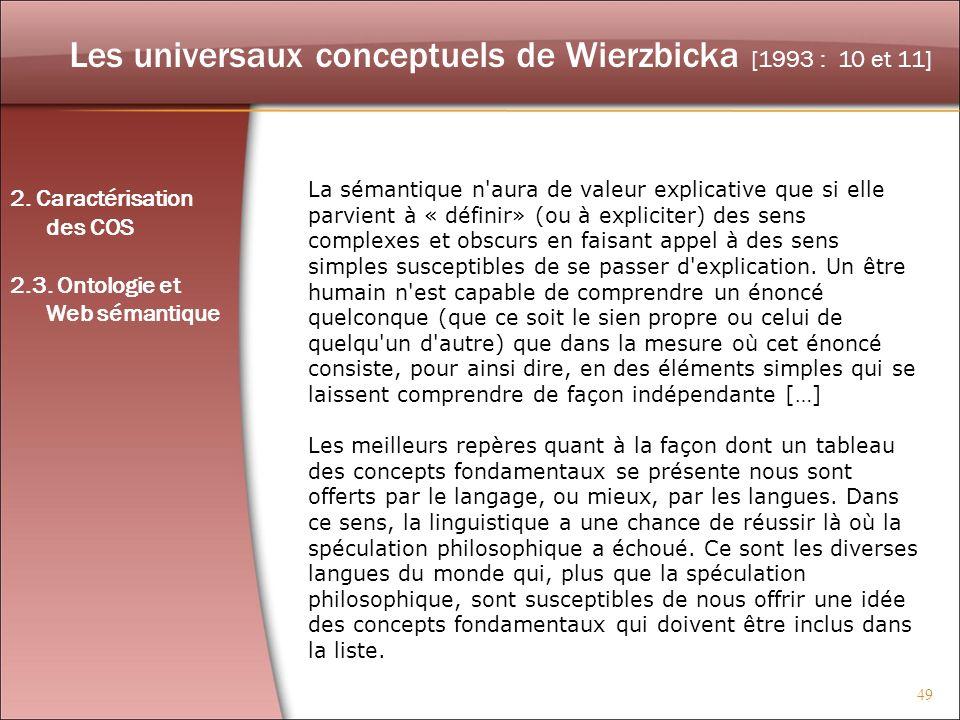 Les universaux conceptuels de Wierzbicka [1993 : 10 et 11]